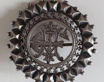 Victorian Silver EH Initial Servant Brooch