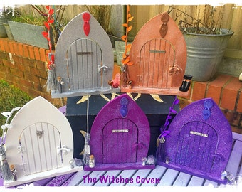 Witch themed Faery doors, witch, broom, besom, crystal ball, crystals,purple glitter, sparkle, glamour Witch, fairy