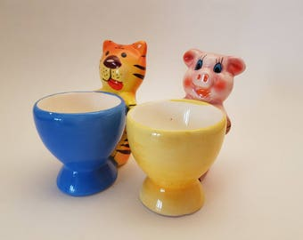 Vintage Tiger and Pig Egg Cups, Kitschy Egg Cups