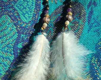 Chicken feather earrings with wooden, amethyst, calcite beads