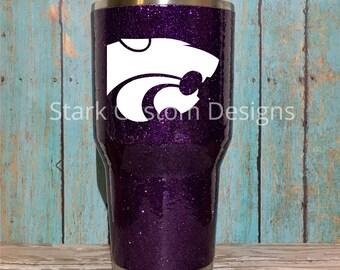 Kansas State University K-State Wildcats Inspired Glitter Tumbler - Yeti, Rtic, or Ozark - 30 oz. or 20 oz. (sealed decal)
