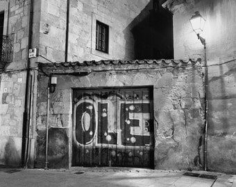 Spain Photography, Olé, Graffiti, Street Art, Black and White, Fine Art Print, Contemporary Wall Art, Urban Photography, Spanish