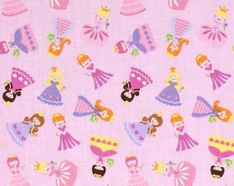 Princess Cotton Fabric Timeless Treasures Mini Princess Toss Pink Purple Yellow