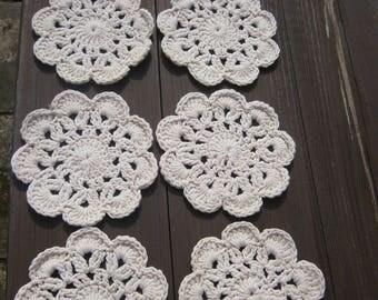 Set of 6 ecru crochet coasters, crochet doily, ecru crochet doily, home decor