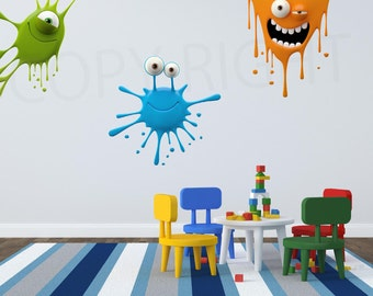 Paint Splatter Kids Fun Wall Art Sticker Decal Transfer Bedroom Playroom Nursery WAP-P101