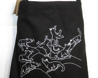 New Cats - Sling bag in black with original art by emily burke