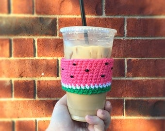 Watermelon Cozy, Crochet Cup Cozy, Watermelon Cup Cozy, Coffee Cozy, Drink Cozy, Coffee Sleeve, Cup Sleeve, Fruit Cozy