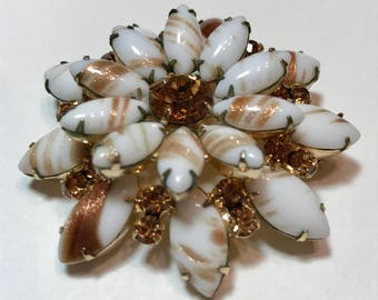 Vintage White Art Glass Brooch with Topaz Rhinestone Chatons. Big Large 1940s Jewelry. Coat Pin Gifts for Collector. Christmas Birthday Gift