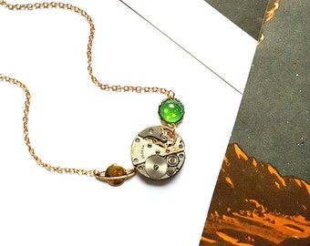 Cosmos Mechanism Necklace // Space Necklace // Planet Necklace // Steampunk Jewelry // Watch Part Jewelry