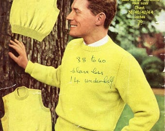 "mens knitting pattern pdf mens sweater round neck slipover v neck pullover jumper vintage 50s 38-44"" DK light worsted 8ply instant download"