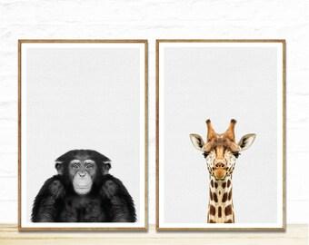 Baby Animal Print Art, 2 prints for 9.99, Kids Room Poster, Nursery Art Kids Room, Nursery Animal,  Baby Animal Wall Art, Animal Poster
