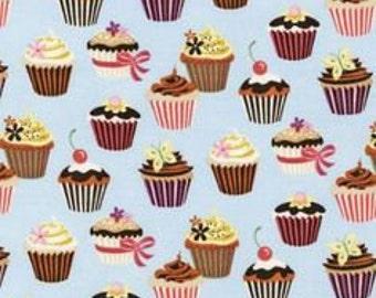 FABRIC -4 yards- Robert Kaufman -Sweet Tooth Powder Cupcakes