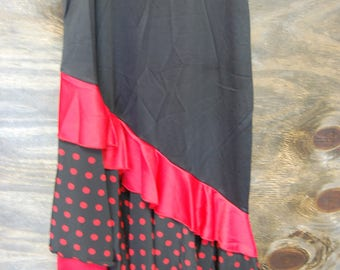 Black and Red Flamenco Skirt