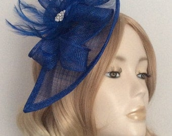 ROYAL BLUE FASCINATOR, Made with sinamay,  feathers, on 5mm Matching covered headband