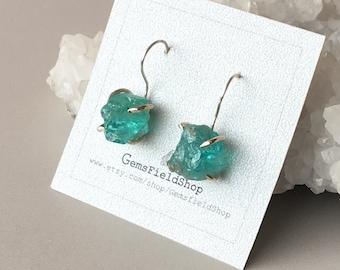 Rough Apatite earrings / Raw Apatite and sterling silver earrings / Rough gemstone earring