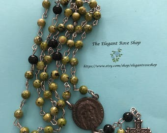 Beautiful, Handmade Rosary in Green and Black