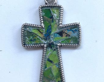 Mosaic recycled glass green and silver cross  jewelry pendant One of a Kind
