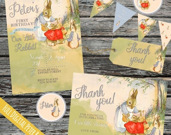 Personalised Peter Rabbit Birthday Invite set, Little Bunny, Spring time, Easter invitation pack, Baby, Beatrix Potter party, customised