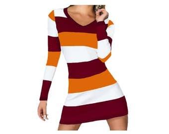 Orange + Maroon Spirit Stripe Dress