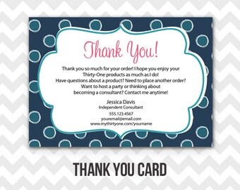 Thirty-One Thank You Postcard Printable Direct Sales MLM Business Card