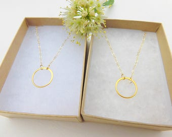 Eternity Charm Necklace - Two Necklace Set - 14k Gold filled - Jewelry - Gift for Best friend - Gift for Sister - Mother Daughter Gift