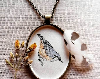 Nuthatch necklace - Original illustration