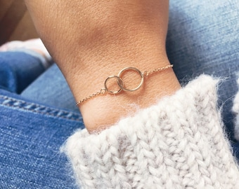 Double chain bracelet, circle, round - 750 gold plated / gold plated bangle