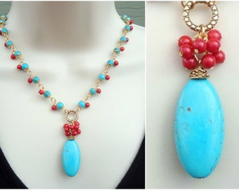 Turquoise Stone Pendant Necklace.Red Coral Cluster.Blue.Beaded Necklace.Gold.Silver.Lariat.Statement.Bridal.Chunky.Multi colors. Handmade.