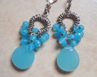 Aqua Chalcedony Dangle Earrings.Blue Cluster Earrings.Drop.Silver.Statement.Hoop Earring.Bridal.Long Earrings.Mother's.Gift.Handmade.