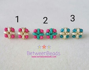 Small Stud Earrings, Gift Mother Sister Friend Daughter, Beaded Stud Earrings, Pink Turquoise Silver, Hypoallergenic Post, Gift Ideas