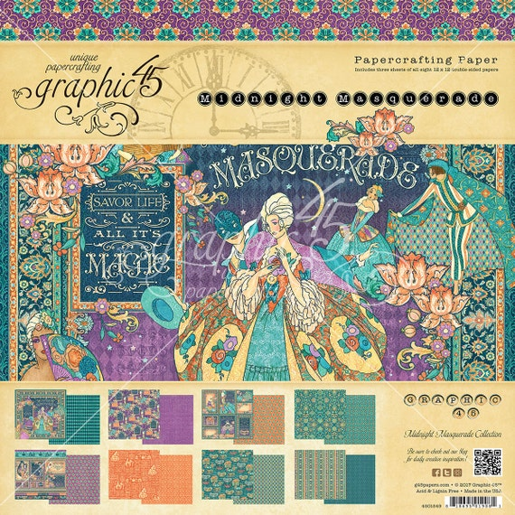 NEW! Graphic 45 Midnight Masquerade 12x12 Paper Pad, SC007713