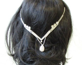 Silver Diamante Headpiece Bridal Hair Vine Headband Wedding Clip Vintage 1104