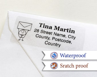 100 Custom Return Address Labels Personalized Transparent Address Stickers [04]