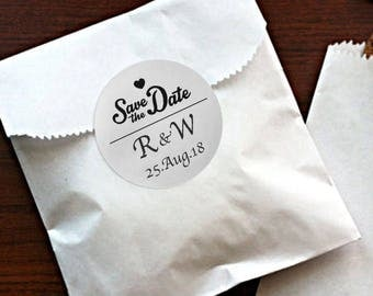 SIiver Foil Personalized Wedding Candy wrappers/ stickers for Favors / envelope seals #K