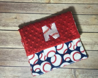 Baseball Burp Cloth Set Red White Blue Available Mix and Match  Made to Order, Monogramming Option