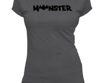 Monster - Bat. Novelty One Word. Ladies fitted t-shirt.
