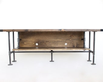 "Industrial Style Long TV Console Table, Pipe and Wood, Handmade in Michigan, Fits a 55"" Television"