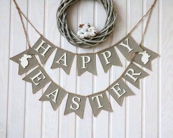Happy Easter Banner, burlap happy easter banner, happy easter  sign, Easter decor, happy Easter bunting, easter banner