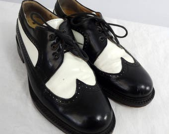 Bravo Browns Vtg Black and White Wing Tip Leather Shoes Mens Size 8.5 Womens 9