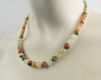 Original Onyx Aventurine and Marble Beaded Necklace Light Peach, Cream, Gold