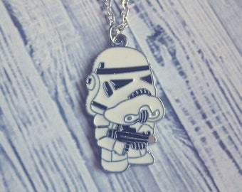 "Storm Trooper Charm Necklace (Star Wars) 18"" - Choose Your Own Chain"