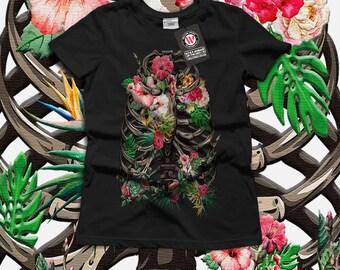 Skull Flower Body Art Festival Women Black White Grey Red Royal Blue T-shirt S-2XL NEW | Wellcoda *y966