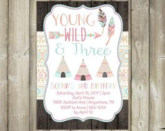 Young Wild Three Birthday Invitation - DIGITAL FILE