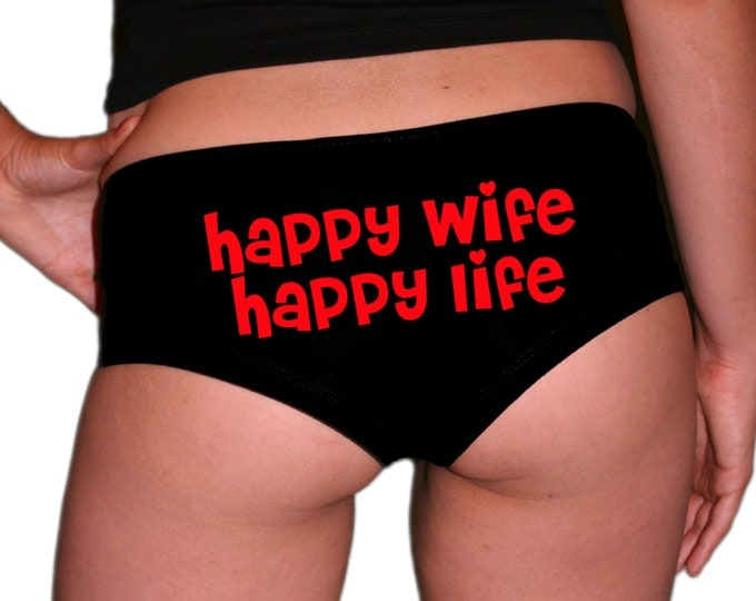 Happy Wife Happy Life Underwear Red Text