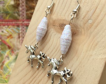 Silver Unicorn Earrings, Glitter Unicorn Earrings, Silver Earrings, Silver Unicorn, Dangle Earrings, Unicorns, Cute Earrings, Pegasus