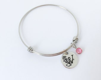 Monogram bracelet, Hand stamped jewelry, Personalized expandable bangle, Initial bracelet, Personalized bracelet, Bridesmaid gift