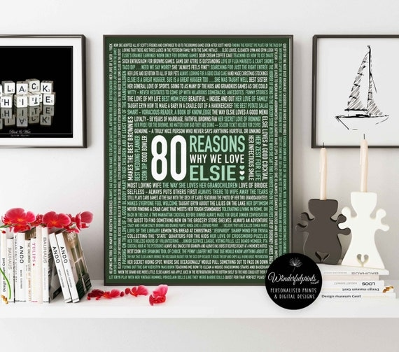 37 Unique Birthday Gifts For Her: Custom 80th Birthday Gift For HER / For Mom / 80 Reasons Why