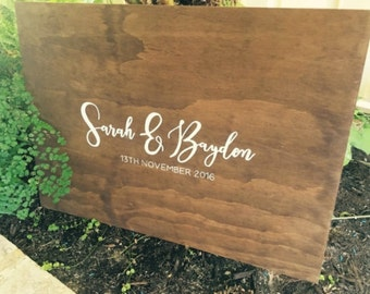 Wedding wooden Guest Book Sign