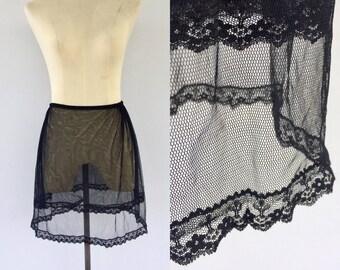 Vintage 70s Black Slip, Petticoat, Underskirt, Lingerie, Pin Up Girl, Net Skirt, Can Can, Show Girl, Size 6 8