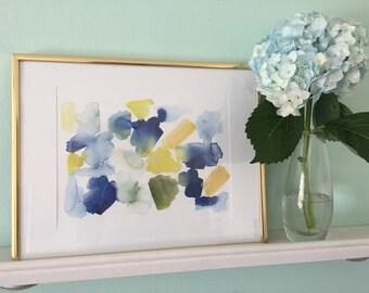 Blue Abstract Watercolor Print | Blue, Green and Yellow Watercolor Painting | Blue Abstract Watercolor Wall Art | Boho Watercolor Wall Art